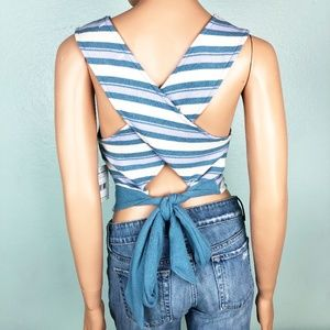 new WE THE FREE blue striped tank TOP large